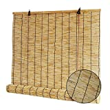 QQF Estores de Bambú, Bambu Estor Enrollables, Proteccion Solar, Cortina de Paja Natural, para Interiores, Exteriores(Size: 150x175cm)