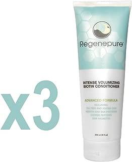 Regenepure Intense Volumizing Biotin Conditioner for Hair Loss, 8 Ounce (Pack of 3)