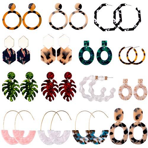 Duufin 15 Pairs Acrylic Earrings Resin Drop Dangle Statement Earrings Polygonal Bohemian Earrings for Women Girls