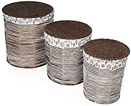 Rustic Rituals, Portable Decorative Laundry Basket for Bedroom, Bathroom, Laundry Room with Removable Liner Bag | Laundry Basket |Magazine and Newspaper Basket | Dark Brown and White - Pack of 3