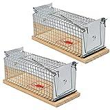 LOVECENTRAL Trampas para Ratones 2PCS, Control de Roedores, Ratonera Ratas Vivos, Trampa para Ratas Reutilizable con Diseño de Resorte Doble, para Cocina Jardín Hogar Oficinas (15.3 * 6 * 7.2CM)