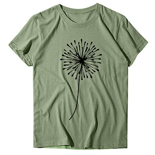 T-Shirt Women's Loose Dandelion Printing T-Shirt Short Sleeves Round Neck Loose T-Shirt Oversize Apply To Daily Use Exercise Running Cycling Gym Etc-Green_XXXL_Spain
