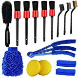 Jaronx 15 PCS Car Detailing Brush Set,Car Cleaning Kit for Wheels,Engine,Console Dashboard,Air Vent,Leather(Detail Brushes, Wheel Brush, Wash Mitt, Vent Brush, Wax Applicator Pads, Towels,Wire Brushs)