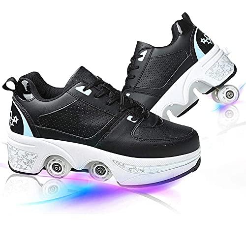 MQJ Patines de Rodillos para Niñas/Mujeres Zapatos con Ruedas para Niñas/Chicos Deforión Parkour Zapatos Cuatro Rondas de Zapatos de Correr Patines para Principiantes Zapatos Deformes de Regalo U