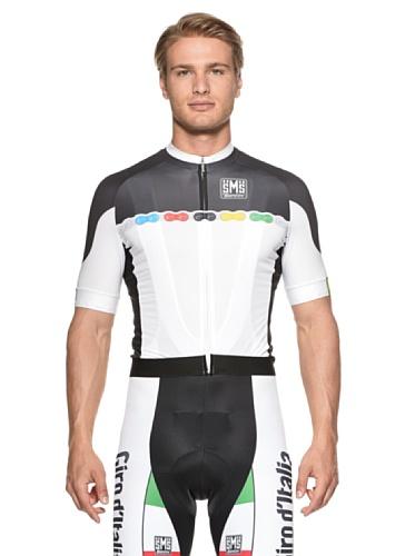 Santini Herren Replica Regenbogentrikot UCI Fashion Men'Full Zip Short Sleeve Jersey, Schwarz, XXL