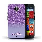 Stuff4 Personnalisé Coque pour Motorola Moto X (2014) Effet Paillettes Coutume Violet Désign...