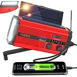 Emergency Radio, Weather Radio, 5000mAh Hand Crank Radio, Solar Radio, Survival Radio, Am Fm NOAA Emergency Weather Radio, Battery Operated Radio Wind up Radio