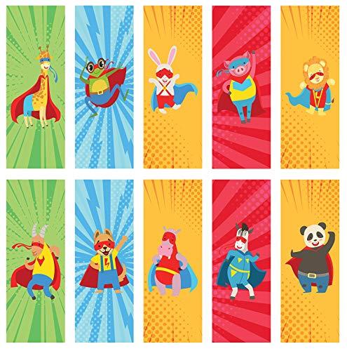 Lesezeichen - 40 recycelte, umweltfreundliche Superheld Lesezeichen, ideal für Schulbelohnungen oder kleine Preise.