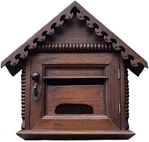 Buzón de muebles Buzón Buzón Post Box madera sólida tallada Papeleta Pequeña Casa hueco de montaje en pared Buzón de sugerencias Carta Mail Box Caja de sugerencias