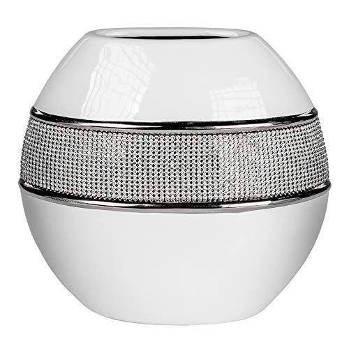 Lifestyle & More Moderne Dekovase Blumenvase Tischvase Vase aus Keramik weiß Silber glänzend Höhe 15 cm