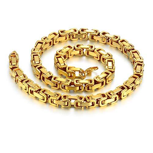 KettingHip Hop Mannen s Dikke Goud Byzantijnse Ketting Kettingen Mannelijke 8mm Goud Kleur RVS Kettingen voor Mannen Sieraden-Goud Kleur_65cm