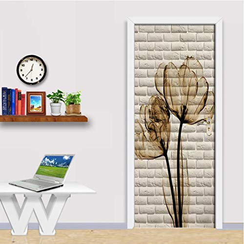 MACHINE BOY Brown Floral Beige Bricks Door Stickers Wall Home Decoration PVC Waterproof Bedroom Door Sticker Wallpaper Wall Decals