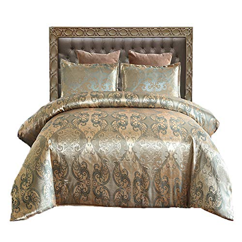 Styho 100% Microfibre Luxury Jacquard Floral Satin Duvet Cover Bedding Set with Pillowshams(Double,Gold)