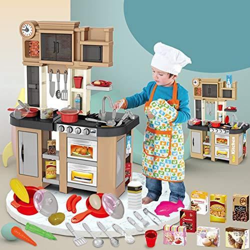UFLIZOGH Juego de cocina infantil Plástico con 58 accesorios, Cocina de juguete Divertido Set de cocinitas de Juguetes Completo para Niños a partir de 3 años (Gris)