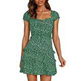 Vestido Verano Bohemio para Mujer Mini Vestido Estampado Floral Informal Vestido Playa Manga Corta Vintage (Verde,L)