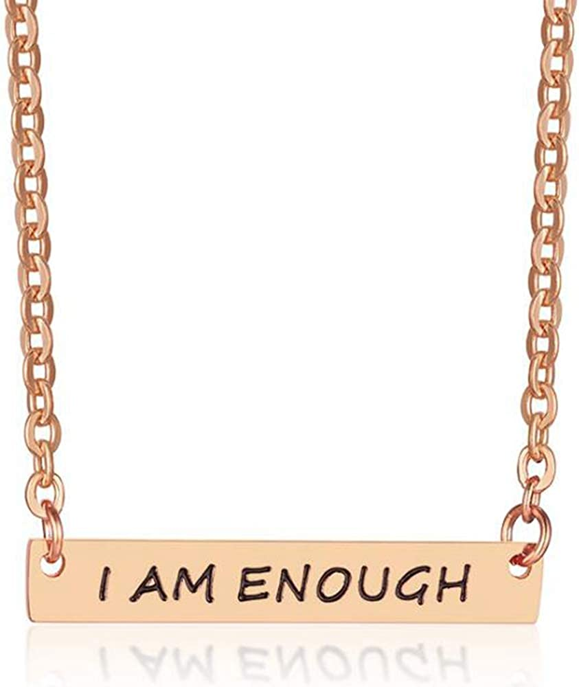 Stainless Steel I am Enough Inspirational Mantra Statement Collar Necklace
