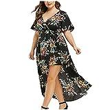 Plus Size Dress for Women, OutTop Spaghetti Strap Sleeveless Boho Flower Print Loose Asymmetrical Long Maxi Dress (C-Black, XXXL)