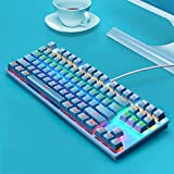 YWS tastiera - tastiera cablata Tastiera da gioco con tasti multimediali dedicati progettata per i giocatori di PC, PS4, PS5, laptop, XBOX(blu)