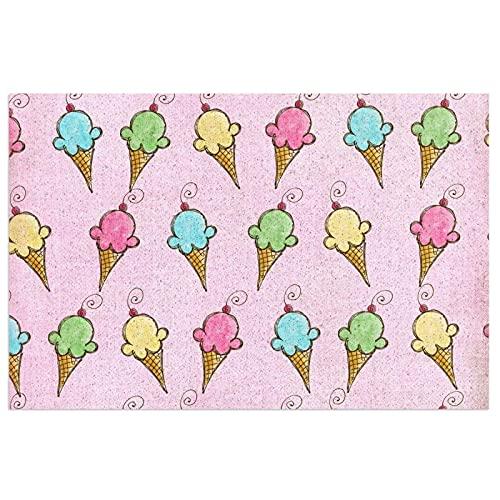 DLJIYZX Felpudo Colorido Helado alfombras de Piso Entrada PVC Antideslizante Alfombra de pie Alfombra de Cocina Alfombra de baño Alfombra 40X60CM