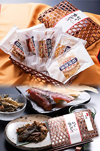 内祝 おつまみ 5種 竹かご のどぐろ 珍味 おつまみセット 小袋 人気 詰め合わせ 【通常便】 えいひれ スルメ 海鮮 手土産 プレゼント ギフト 越前宝や