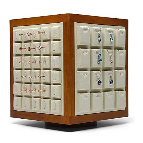 Adesign El Estante de Almacenamiento de aretes de joyería de Moda de Alta Gama Puede Girar la Caja Organizador de joyería de Gran Capacidad, niñas (Color : A)