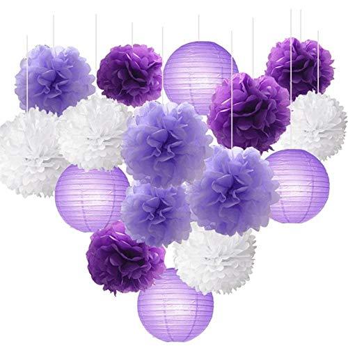 16st papieren zakdoekje bloemen bal Pom Poms gemengde papieren lantaarns Craft Kit voor lavendel paarse Babyshower Decor bruiloft decoraties, 1
