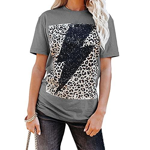 Mayntop Camiseta de verano para mujer de manga corta, con estampado gráfico de rayo, con bandera suelta y cuello en O