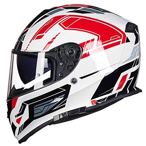 GHMH-helmet Casque de Moto de Plein air sécurité Pleine Couverture Quatre Saisons Unisexe Anti-buée Casque Double lentille (Couleur : A, Taille : L)