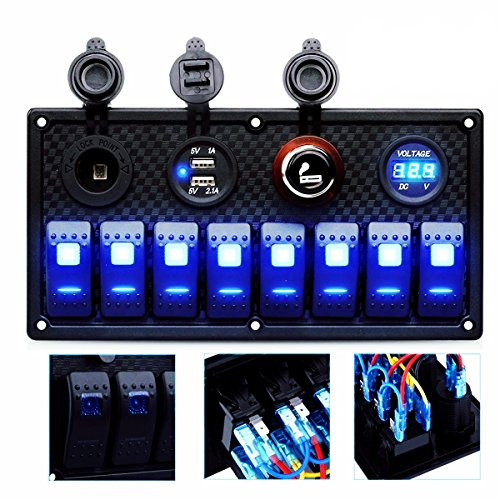 DCFlat 4 Gang / 6 Gang / 8 Gang Circuit LED Car Marine Boat Rocker Switch Panel Dual USB Waterproof Power Socket Breaker Voltmeter Overload Protection (8 Gang)