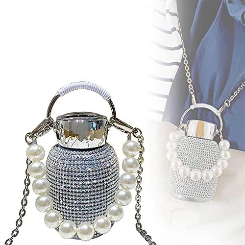 HGeufKH Nuevo Termo de Diamante con Brazalete de Perlas, Botella de Agua de Diamante Brillante con Brazalete, se Puede Usar para reponer Mucha Agua Cuando se viaja Color