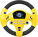 baby steering wheel toy for car seat drive wheel toy lightweight educational steering wheel doll Portable pretend doll gift for boys and girls (Does not contain batteries) (yellow)