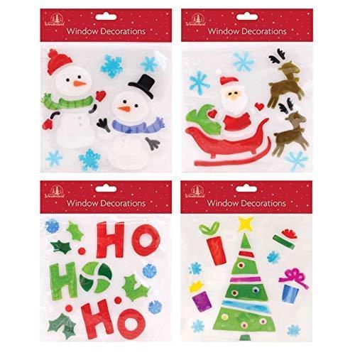 The Home Fusion Company Set di 4 Natale Finestra Gel STATICI Vetro Decorazione Babbo Renna Pupazzo di Neve