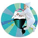 PLOKIJ Alfombra de área de las niñas habitación de los niños alfombra resistente lavable alfombras dormitorio adolescente, azul sirena unicornio