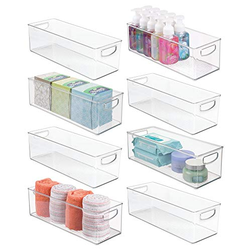 mDesign Plastic Bathroom Organizer - Storage Holder Bin with Handles for Vanity, Cupboard, Cabinet Shelf, Linen or Hallway Closets, Holds Styling Tools, Beauty Products, or Toiletries - 8 Pack - Clear
