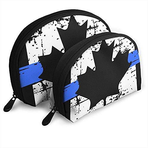 Thin Blue Line Drapeau Canada Étui à cosmétiques en Forme de Coquille Sac de Rangement portatif Sac de Rangement portatif pour Voyage Trousse de Toilette (avec 2 Sacs)