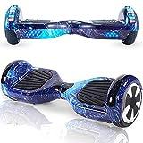 Magic Vida Skateboard Elettrico 8 Pollici Bluetooth con Due Barre LED Monopattini elettrici autobilanciati di buona qualità per Bambini e Adulti(Nero Cromo)