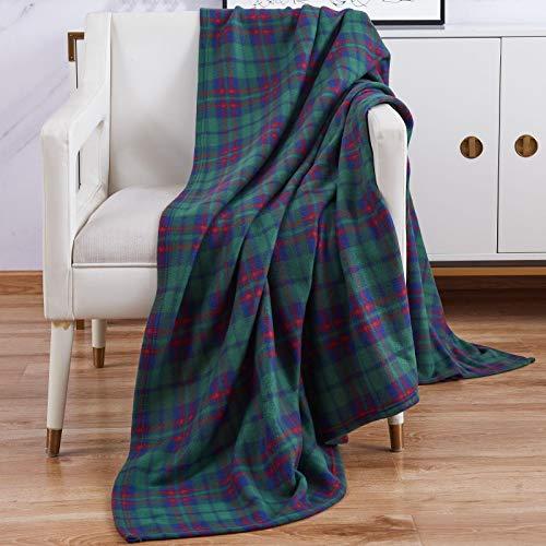 Suave y cálida 150x 200cm cama doble sofá manta a cuadros Polar Manta De Viaje, polar, Verde, doble