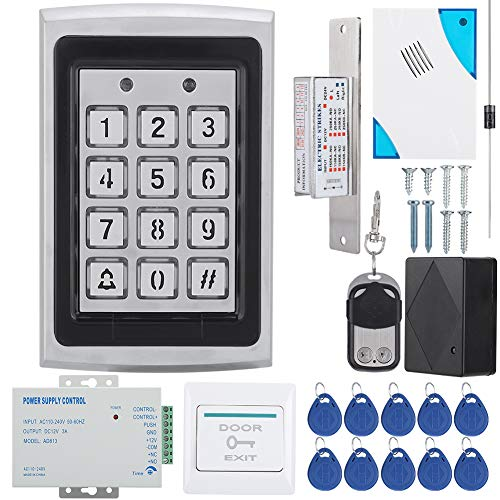 Sistema de control de acceso de puerta, teclado RFID Kit de sistema de control de acceso Cerradura de puerta Tarjeta EM de 125 kHz para entrada de puerta