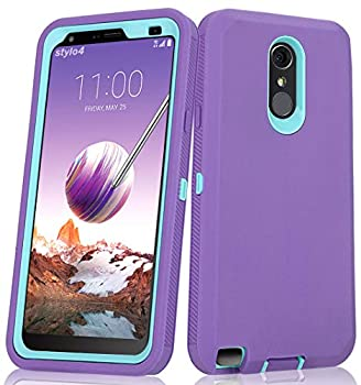 Annymall Case for LG Stylo 4 Plus Case Hybrid High Impact Resistant Rugged Full-Body Shockproof Tri-Layer Heavy Duty Case with Built-in Screen Protector for LG Stylo 4/ LG Stylo 4 Plus  Purple
