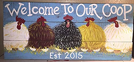 Custom 12x17 inches Chicken Coop Sign Large Rustic Wood Hand Printed Country Sign HensRoostersFarm Sign Chicken Coop Sign