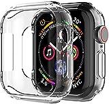 ivoler 3 pezzi cover per apple watch se e apple watch series 6 e 5 e 4 44mm custodia, case in morbido silicone di gel antigraffio in tpu ultra [slim thin] protettiva - trasparente