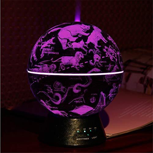 Globus Glowing World Globe, 3-in-1 wereldbol en constellatie, ingebouwde LED-verlichting, nachtscène, stummes, slaapkamer, ultrasone luchtreiniger, vormgeving, wereldgeschenk voor thuis, decor lichtbruin