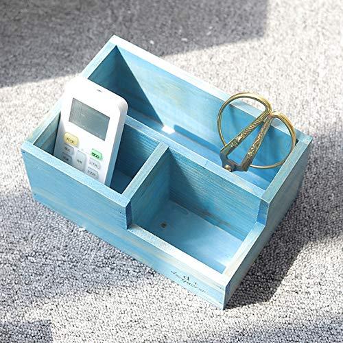 Tidy Retro - Caja de almacenamiento de escritorio de madera para cosméticos, caja de almacenamiento de maquillaje, organizador de maquillaje de escritorio para cosméticos 0413 (color azul)