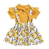 Shaohan Mädchen Babykleidung Set Baby Kleidung Outfit Kinder Body Strampler + Rock mit Hosenträger und Rüschen, Kleinkind Outfits Anzug Weiche Babyset Zweiteilige Kinderkleidung (Gelb, 2-3 Jahre)