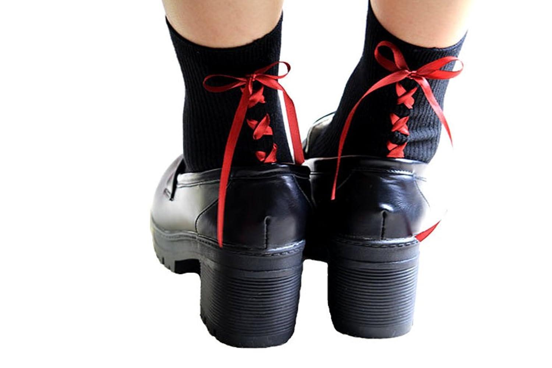 (ZEAMO)レディース 靴下 リボン 可愛い ソックス