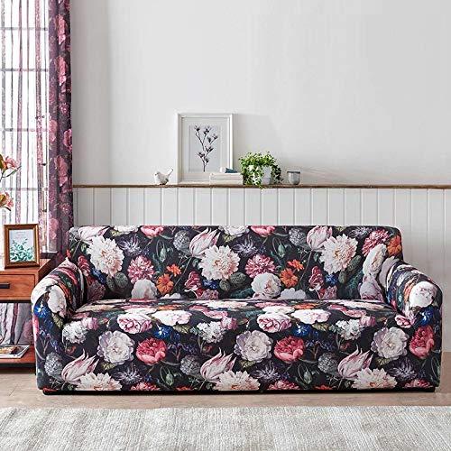 Funda de sofá Floral elástica Fundas de sofá elásticas para Sala de Estar Funda sofá Protector de Muebles Fundas sofás con Chaise Longue A13 4 plazas