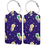 Colorido Piñas Personalizadas Cuero De Lujo Maleta Etiqueta Set Accesorios De Viaje Etiquetas De Equipaje