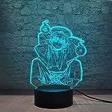 Japan Classic Anime Mano Role Boy Luz nocturna de dibujo animado con mando a distancia táctil inteligente cable USB acrílico LED bombilla 3D Illusion figura lámpara para niños habitación decoración