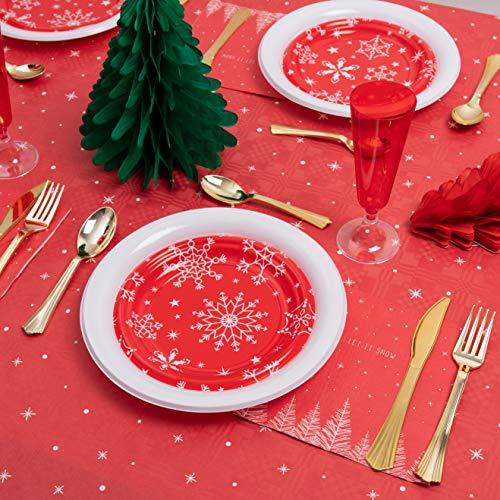 Horeca Collection [Pack Ahorro] Kit Vajilla Navidad y Decoración - Incluye Abanicos...