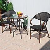 QLLL Juegos de muebles de patio – 3 piezas al aire libre Bistro conjunto de sillas de ratán Conversación con mesa de centro – Juegos de muebles de patio para patio, porche, balcón junto a la piscina